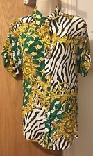 Versace Jeans Short Sleeve Tiger Print Green/Gold Silk Blouse Shirt IT 40/UK 8