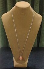 LONG VINTAGE NECKLACE WITH POLISHED NATURAL STONE - FITS OVER THE HEAD