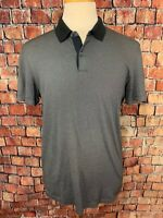 Theory Men's Short Sleeve Polo Shirt Black Gray Size M
