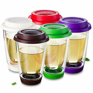 Double Wall Glass Coffee Cocktail Mug Cup with Candy Color Silicone Lid