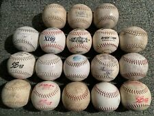 Huge Lot Of 18 Well Used Vintage White Slow Pitch Softballs All Mixed Brands W