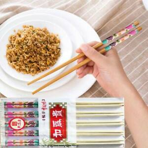 10 Pairs Chinese Chopsticks Wooden Bamboo Traditional Japanese Wood Chopsticks