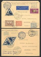 NETHERLANDS INDIES 1933 34 TWO FIRST FLIGHT AIR MAIL POSTAL CARDS KRAWANG TO INN