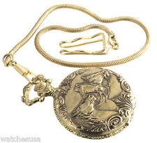 Pocket Watch with Hook Collezio Horses Quartz Gold Tone
