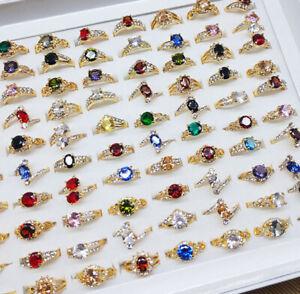 40pcs Wholesale Lots Gold P Fashion Women Gifts Cubic Zirconia Rhinestone Rings