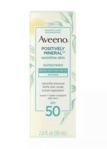 Aveeno Positively Mineral Sensitive Skin Sunscreen - SPF 50 - 2 fl oz Exp 6/2021