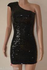 Vicky Martin PAILLETTES MONOSPALLA IMBOTTITO Mini Body Con abito nero nuovo con etichetta (1) 8 10