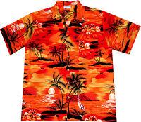 Hawaii Hemd Evening on Hawaii S - 6XL 100% Baumwolle Hawaiihemd Hawaihemd orange