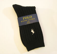 Ralph Lauren Ladies Socks Ribbed Wool Blend w/ Polo Pony Black - NEW