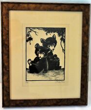 """Scarce Yellowstone Related, Olive Fell Art, titled """"Us"""" - signed & framed"""