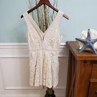 Free People Cream Lace Overlay Vneck Pocket Mini Dress Womens XSmall