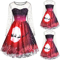 UK Christmas Women Dress Ladies Xmas Long Sleeve Skater Evening Party Dresses AD