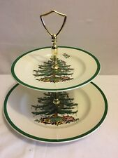 Spode Double Tier Christmas Tree Dessert Tray In Original Box ~