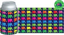6xDesigner Beer Can STUBBY HOLDER Stubbie Cooler Koozie with base Elephants navy