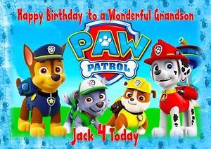 personalised birthday card paw patrol daughter son grandson birthday card