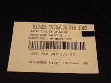 Ticket Stub 2008 MADAME TUSSAUDS NEW YORK Wax Museum tourism souvenir memento NY