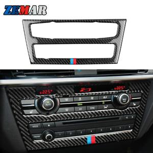Carbon Fiber Center Console CD Panel Cover Trim for BMW X3 F25 X4 F26 2011-2017