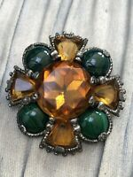 Celtic Cross Brooch Signed Miracle Orange Green Glass Vintage Scottish Jewellery