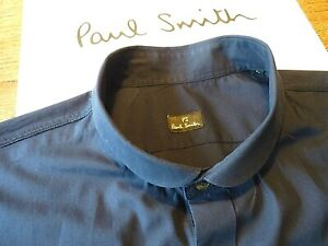 PAUL SMITH Shirt in 100% Cotton,Navy Blue,Long Sleeves,Size L,Small Round Collar