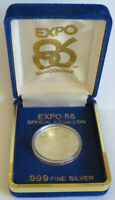 1986 WORLD EXPO .999 FINE SILVER VANCOUVER CANADA 16.5 GRAMS CAPSULE DISPLAY BOX