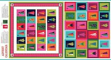 Makower Wrap Advent Calendar Fabric Panel Modern bright Christmas tree advent