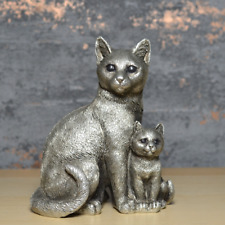 More details for silver cats family sculpture kittens figurine ideal gift for cat lovers ornament