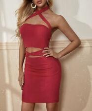 NEW Red Bodycon Sexy Dress Crisscross Halter Cutout Waist Size Medium