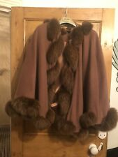 Romany Brown Twisted Fox Fur Trimmed Cashmere Hooded Cape
