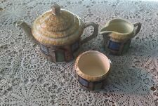 Crown Windsor Croft Cottage English Tea Pot, Sugar & Creamer Set.        #1818