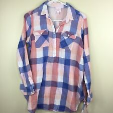 Isabel Womens Maternity Pink & Blue Buttons Plaid Tunic Long Sleeve Top S