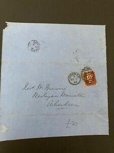 Postal History GB QV 1872 Aberdeen CDS Parish Return 1d Red Plate144 Cat £25