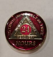 Rich Mandarin Red Enamel 21st XXI BSP 21 Year AA Sobriety Coin Medallion