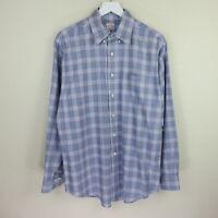 Brooks Brothers Purple/Blue Plaid Button Down Collar Dress Shirt - Men's M