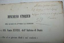 Dante Divina Commedia, Cerroti: V. 135 Canto XXVIII Inferno 1865 con dedica