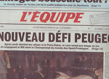 journal  l'equipe 09/02/90 AUTO SPORT-PROTOTYPES  LA PEUGEOT 905 FOOT TISSIER