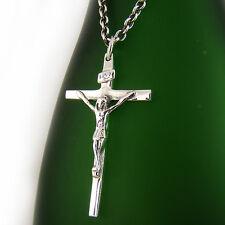 Cross Pendant Chain Necklace Set P313Sc Mens Sterling Silver 925 Jesus Crucifix