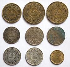 Morocco: 9 old coins. 50 Francs 1371. 3 x 10 Francs 2x 1966 & 1371. 5 Fr 2x 1365