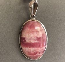 .925 Sterling Silver Rhodochrosite Pendant