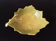 LAURIE GATES XL LEAF SHAPED RELIEF SERVING CENTERPIECE BOWL CERAMIC AUTUMN FALL
