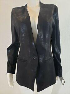 Mossimo Womens Sz L Jacket Blazer Black Shimmer Long Sleeve Stretch New