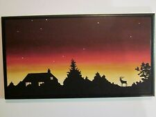Sunset Mountain Cabin wall decor plaque country lodge sign picture orange