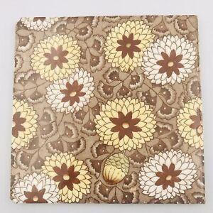 """Antique """"L"""" Marked Tile Reg #40986 Brown Floral 6"""" x 6"""""""