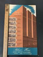 Vtg Palmer House Hilton Hotel Chicago Illinois Room Service Menu 1950s