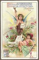 Artist Cherub  Angels Architecture  Architect  Art 1896 Trade Ad Card