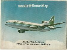 SAUDI ARABI Rare Route Map SAUDIA Airlines 1975