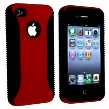 Hybrid Ribbed Case for iPhone 4 / 4S - Black/Red
