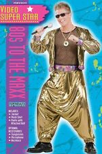 80's Video Super Star Rapper Costume 3 Pc Gold Lame' Pants Mesh Top & Jacket M/L
