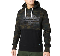 Superdry Mens Vintage Logo Panel Camo Hoodie Pullover Sweat   Green Camo