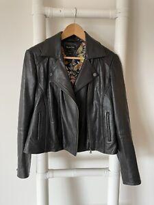 Massimo Dutti Black Leather Floral Lining Biker Jacket L