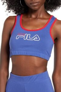 Fila Womens Rebeca Sports Bra Top in Blue Size XS